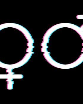 White Gender Symbols in Glitch Style